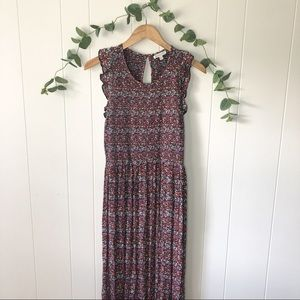 Patrons of Peace Smocked Floral Ruffle Maxi Dress